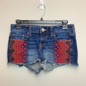 EXPRESS jean cut off shorts with embroidery Sz 0